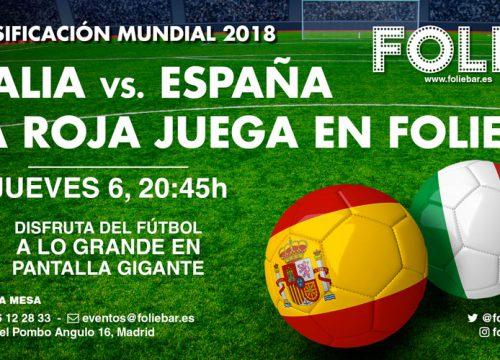 Clasificación Mundial 2018. Italia contra España.
